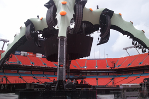 U2 concert stage at Sun Life Stadium in Miami, FL with tuning provided by Hamilton Piano Company.