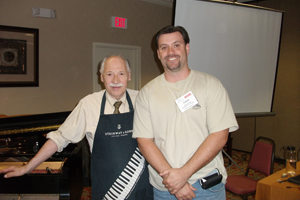 Tobias Hamilton with Franz Mohr, chief concert technician for Steinway & Sons from 1968 to 1992.