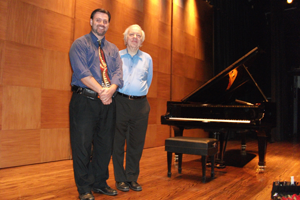 Tobias Hamilton with American classical pianist Richard Goode at a concert at The Society of the Four Arts in Palm Beach, FL. In the background is a Hamburg 9' concert grand regularly maintained by Hamilton Piano.